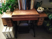 Vintage Singer Sewing Machine In Cabinet, Good Condition, Classic