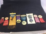 Lot Of 8 Fire Department Convention Badges, Ribbons, Badges And Pins 1880's And Up