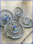 1965 1966 Mustang Oem 48 Spoke 14 Wire Hubcaps W/new Blue Spinners Set Of 4