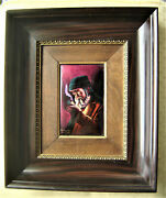 French Bardannaud Limoges Enamel On Convex Copper Painting Original Frame