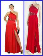 Versace Red Silk Evening Long Gown Dress W/patent Leather Inserts 38 -2
