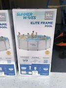 Summer Waves 14ft Elite Frame Pool W/ Cover, Pump, And Ladder- Ships Free And Fast