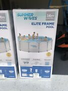 Summer Waves 14ft Elite Frame Pool W/ Cover Pump And Ladder- Ships Free And Fast