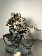 Bicycle Love Bronze Statue By Icart