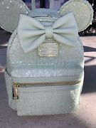Disney Parks Loungefly Minnie Ears Pastel Mint Sequin Bow Mini Backpack - New