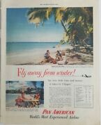 1953 Pan Am American Airways Airlines Fly Away From Winter West Indies Ad