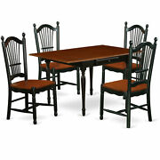 East West Furniture Monza Wood 5-piece Dining Set With Black Finish Mzdo5-bch-w