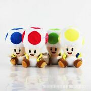 4pcs Super Mario Brother Green Red Blue Yellow Mushroom Toad Plush Toy Doll Gift