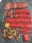 Vintage American Halsam Lincoln Colors Logs Square Flat All Wood Building Toys