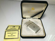 Vintage Lucienne Butane Lighter Never Used W/case And Instructions White-gold Trim