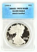 1989 S Silver Eagle Certified Anacs Pr70 Dcam 1 Dollar Deep Cameo Proof Coin