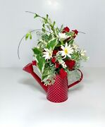 Red Metal Watering Can Country Floral Arrangement Centerpiece Summer Flowers