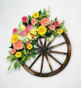Large Wooden Wagaon Wheel Summer Floral Swag Country Kitchen Farmhouse Decor New