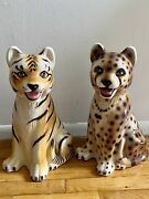 Jaguar And Tiger Bassano Statues, Made In Italy
