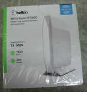 New Belkin Dual Band Ax1800 Wifi 6 Router, 1.8 Gbps, White Rt1800