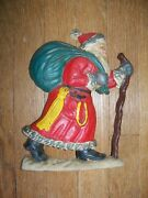 Vintage Cast Iron Hand Painted Old World Santa Claus Christmas Doorstop Heavy