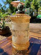 Vintage Rare Carnival Glass Cylinder Pendant Swag Lamp Light Shade Mcm As Is 18
