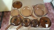 Pyrex Corning Vision Ware Amber Cookware 12 Piece