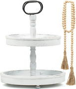 Refurnity 2 Tier Tray And Wood Bead Garland Farmhouse Tiered Tray, Wooden Decora