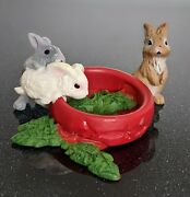 Schleich Baby Bunny Rabbits Eating From Red Dish Retired