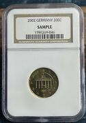 Sample Slab - Ngc Germany 2002 20 Euro Cents - Only 50 Made 20ec Coin
