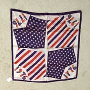 Scarf Vintage 1776-1976. Red, White And Blue Made In Japan Acetate Twill