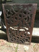 Antique Wooden Music Stand Part Salvaged From Organ Carved Front Detailed Scroll