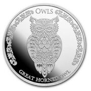 2021 Tokelau 1 Ounce Silver Owls - Great Horned Owl Bu Round Limited Mintage