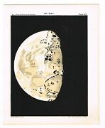 Antique Print Vintage 1910 Astronomy Star Map Chart Moon 9th Day Matte Black B9