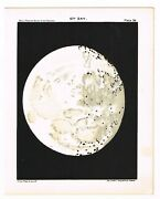 Antique Print Vintage 1910 Astronomy Star Map Chart Moon 12th Day Matte Black B9