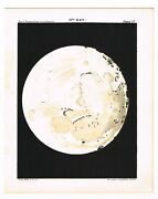 Antique Print Vintage 1910 Astronomy Star Map Chart Moon 13th Day Matte Black B9