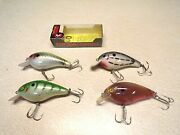 4 - Vintage Cotton Cordell Fishing Lures - Big O` - Beautiful Condition