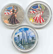 3 American Silver Eagle1 Ounceoz0.999painted9-11 Sticker199919992001