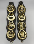 Set Of Vintage Horse Brasses Leather Brass Collectible Equestrian Medallions Uk