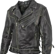 New Mens Antique Brown Armored Vented Leather Motorcycle Jacket 2xl Closeout