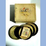 Antique Awesome Fox Hunting Box W/old Cigarette Matches +brass Ash Trays