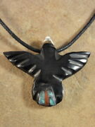 Hand Carved Jet And Turquoise Black Bird Fetish Necklace