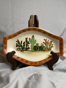 Hf Coors Tuscan, Az Art Pottery Hand Painted Cactus Signed By Artist.