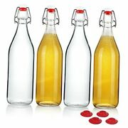 Clear Glass Bottles With Stopper For Home Brewing Beer Kombucha Kefir And
