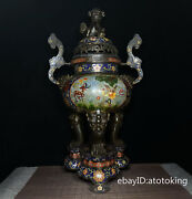 24 China Antique Cloisonne Copper Tire Enamel Wishful Ear Furnace With Bottom