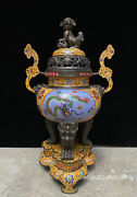 24 China Antique Cloisonne Copper Tire Enamel Wishful Ear Furnace With Base