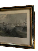 C.1872 Engraving Print The City Of Detroit From Canada Shore D. Appleton And Co.