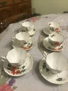 Queen Anne Noel Poinsettia Set Of 6 Tea Cups And 6 Saucers Fine Bone China England