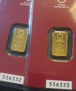 Rare Lot Of Two In Succesion 2 Gram Gold Hereus Bars