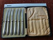 Antique Sterling Silver Cutlery - Set Of Six Butter / Tea Knives And Case, 1913