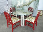 Chinese Chippendale Dining Set Octagonal Dining Table And 4 Trellis Chairs