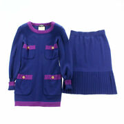 Pole Coco Button Long-sleeved Knit Long Skirt Setup Wool Navy No.5621