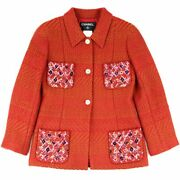 00a Wool Tweed Jacket Sequin Decoration Red 38 Womenand039s No.5753