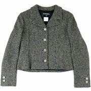 01a Coco Mark Button Tweed Short Jacket Gray 42 Womenand039s No.5987