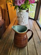 """Vintage Red Wing Brown Turquoise Large Pitcher Creamer Usa Village Green 6 3/4"""""""